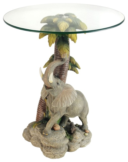 "24""h Glass Top Color Sculpture End Table, Elephant."