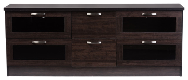 Adelino Wood TV Cabinet With 4 Glass Doors and 2 Drawers, Dark ...