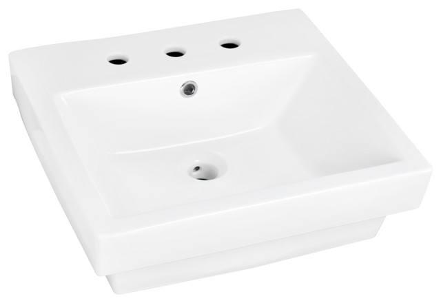 "20.5""x18.5"" Semi-Recessed Rectangle Vessel White Color, 8"" Center."