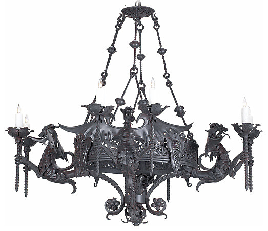 Candle Style Wrought Iron Chandelier