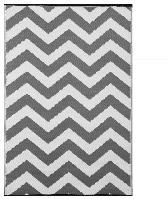 588905aa1bad Psychedelia Indoor/Outdoor Rug, Grey and White - Contemporary - Outdoor Rugs  - by Green Decore