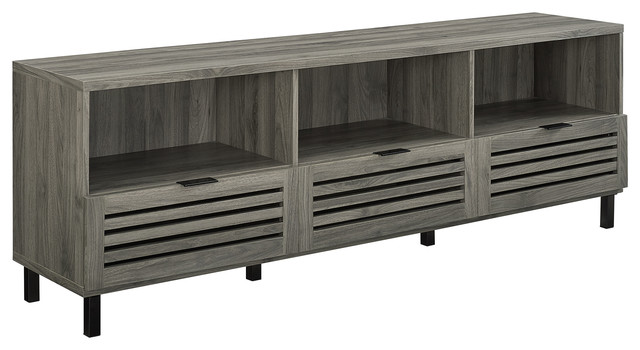 Phenomenal 70 Slat Door Media Storage Console Tv Stand Entertainment Center Gray Caraccident5 Cool Chair Designs And Ideas Caraccident5Info