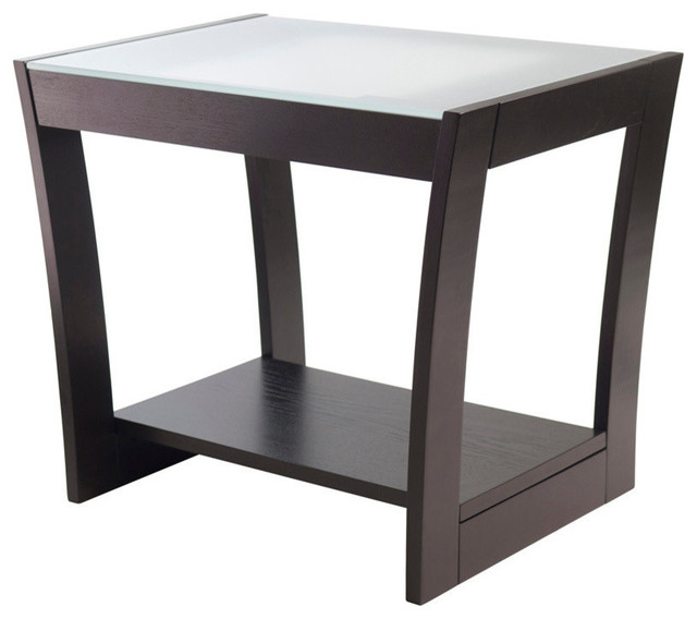 Superbe Winsome Wood Radius End Table W/ Frosted Glass U0026 Curved Legs In Dark  Espresso