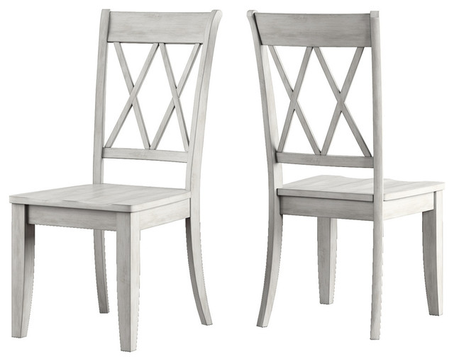 Arbor Hill X Back Wood Dining Chair, Set of 2, Antique White
