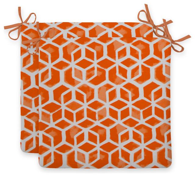 Indoor/Outdoor Seat Cushion Squared, 2 Pack, Inbox, Orange