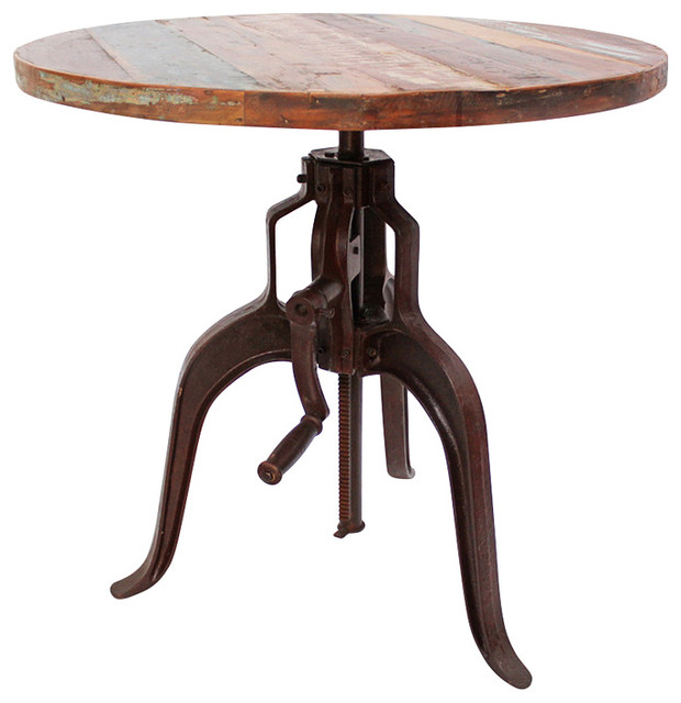 Industrial Crank Table Industrial Iron And Wood Crank Table  Rustic  Indoor Pub And .