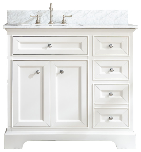 South Bay 37 Bathroom Vanity White Finish Transitional Bathroom Vanities And Sink Consoles By Ari Kitchen Bath
