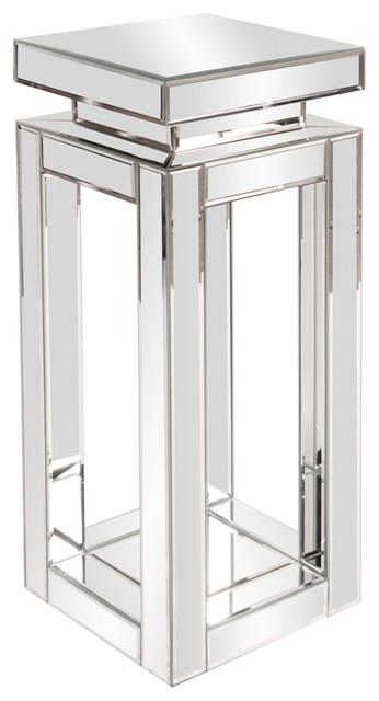 Howard Elliott Mirrored Small Pedestal Table