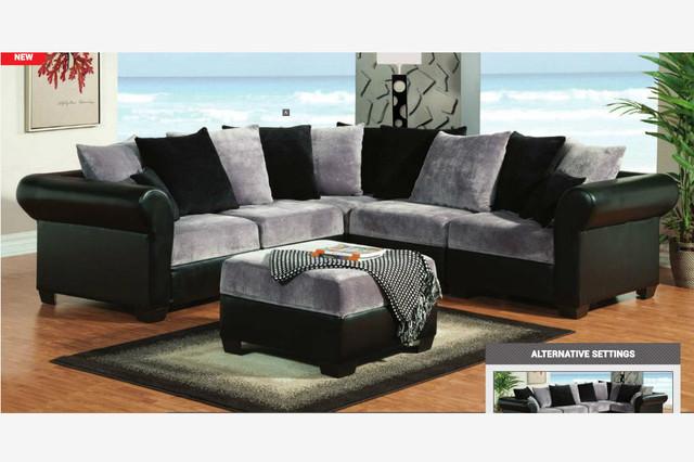 Beau F Gray Black Champion Fabric Leather Sectional Sofa Ottoman Pillow Back