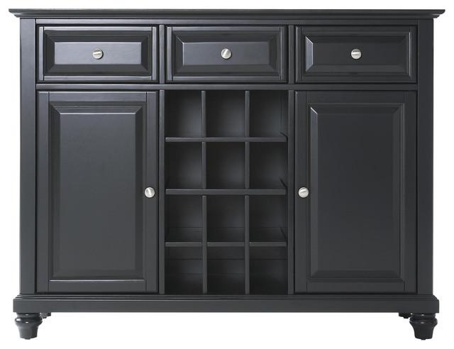 Cambridge Buffet Server Sideboard Cabinet With Wine Storage Black Finish