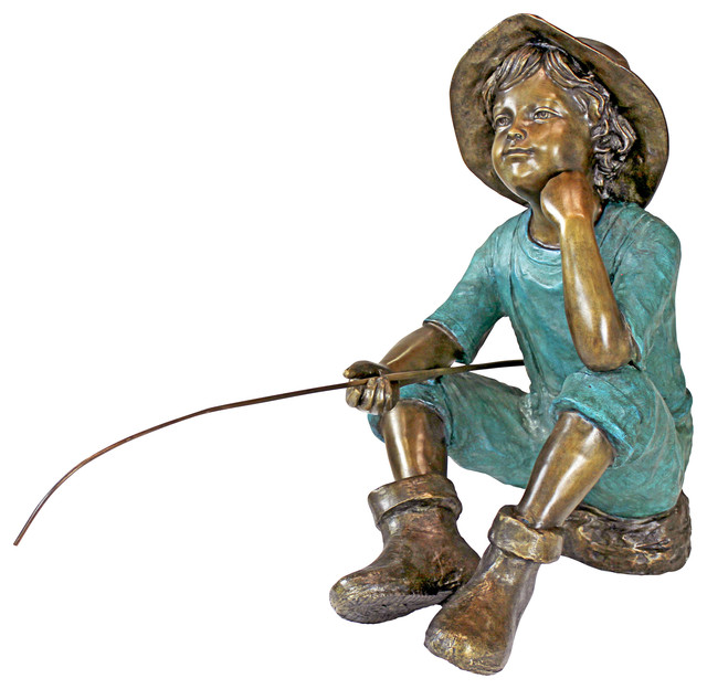 Fish Wish Fisherboy Cast Bronze Garden Statue Traditional Garden Statues  And Yard
