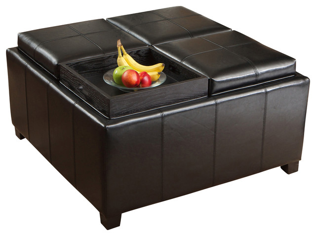 Harley Leather Black 4Tray Top Storage Ottoman Contemporary
