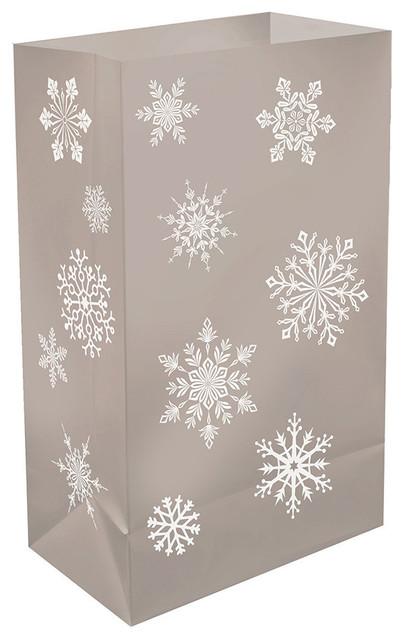 Plastic Luminaria Bags, Silver Snowflake, Set Of 12.