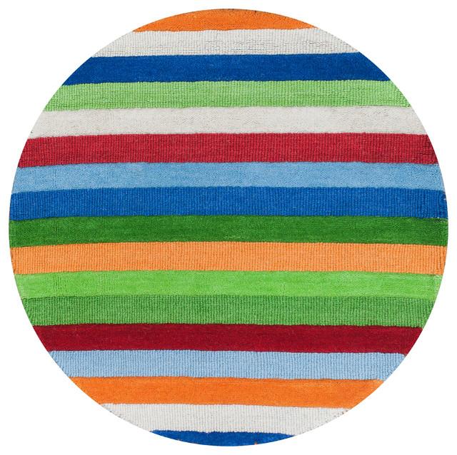 Kidding Around 0435 Cool Stripes Rug, 3&x27; Round.