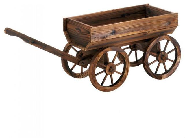 Wood Garden Wagon Plant Stand