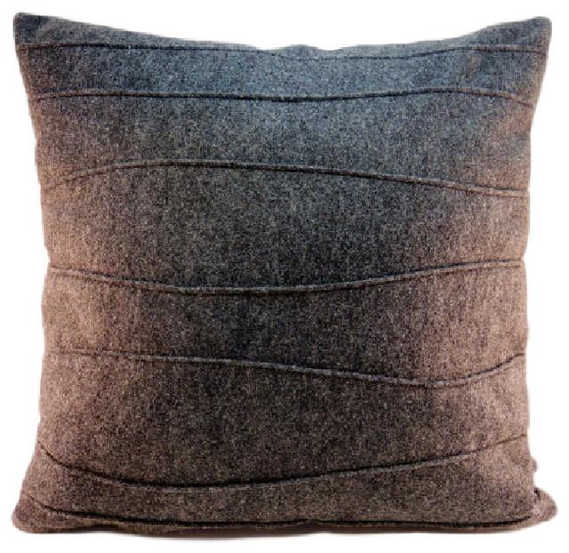 Modern Felt Pillows : Wool Felt Pillow with Wavy Ribbing - Modern - Decorative Pillows - by Sheila Weil Studios