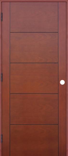 Interior 5 Panel Reversible Handing Pre Hung Door Kit, Mahogany, 18x80  Interior