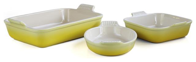 Le Creuset Heritage Soleil Yellow Stoneware 3-Piece Bakeware Set.