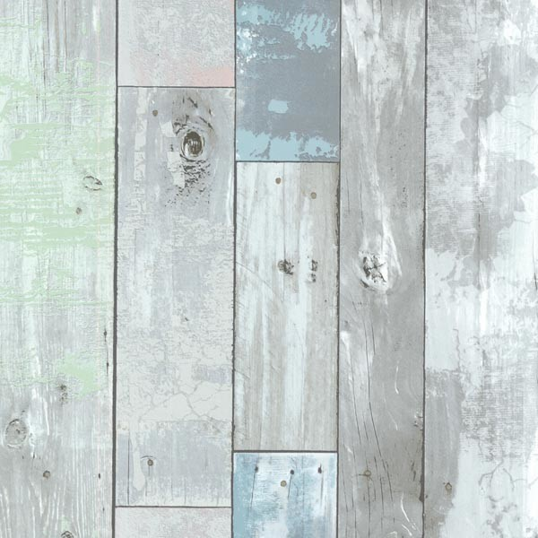 Dean Blue Distressed Wood Panel Wallpaper Beach Style Wallpaper