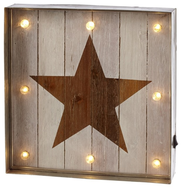 Galvanized Framed Lighted Star Wall Decor Farmhouse Kids Wall Decor