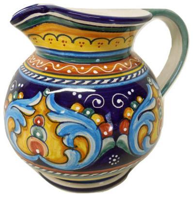 Deruta Ceramiche Sberna Antico Geometrico Pitcher - Mediterranean ...