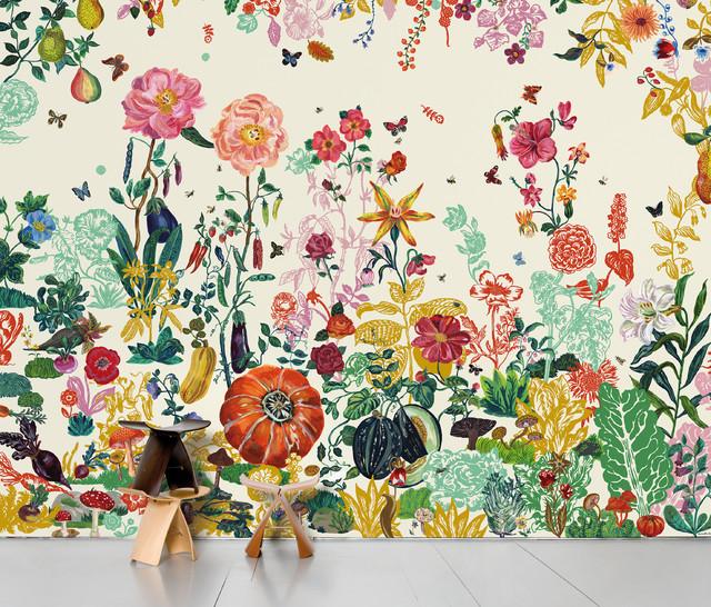 Domestic Jardin Scenic Wallpaper 8 Strips Creme