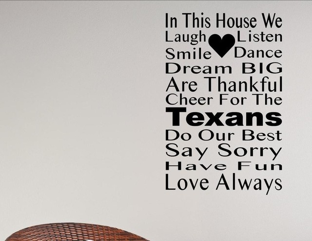 In This House We Cheer For The Texans Wall Decor Stickers