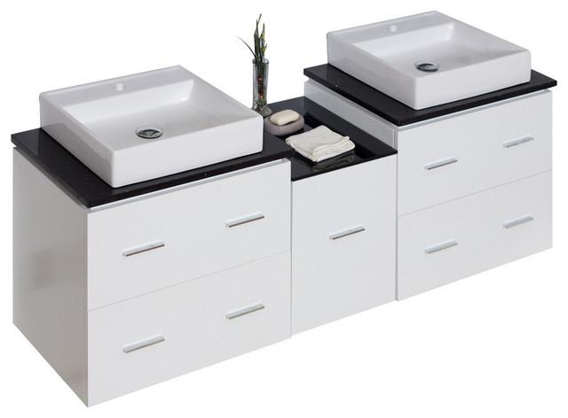 Plywood-Veneer Vanity Set, White, Single Hole Cupc Faucet, 62x18.5, Faucet 22.