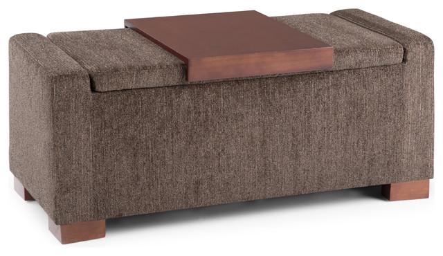 Bretton Lift Top Storage Ottoman Deep Umber Brown Fabric