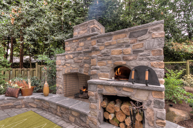 Outdoor Fireplace With Pizza Oven Traditional Portland
