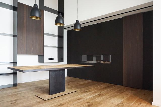 Parete camino parete attrezzata tavolo pranzo moderno - Parete attrezzata moderna con camino ...