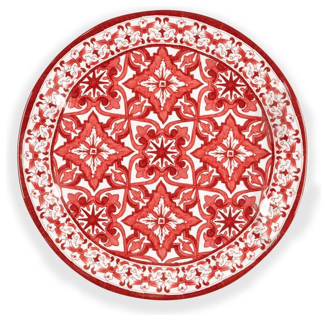 Mediterranean Style Dinnerware: Talavera In Roja Dinner Plate, Set Of 4