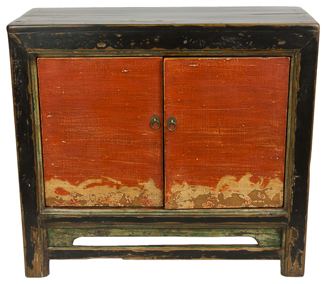 Consigned, Antique Distressed Gansu Black Cabinet With Red Doors   Asian    Accent Chests And Cabinets   By Redd Furnishings