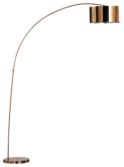 Adelina Led Arched Floor Lamp Rose Copper Contemporary
