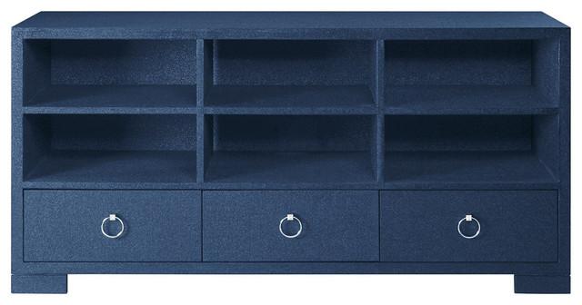 Bungalow 5 Franki A/V Cabinet Veneer in Palmwood, Navy Blue