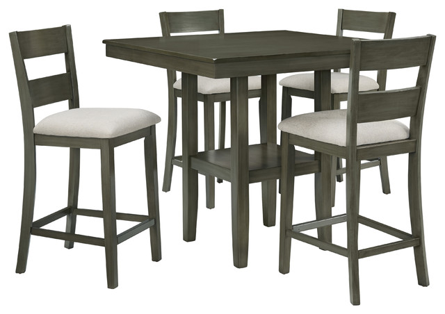 Loft Square Counter Height Dining Table and 4 Chairs Set