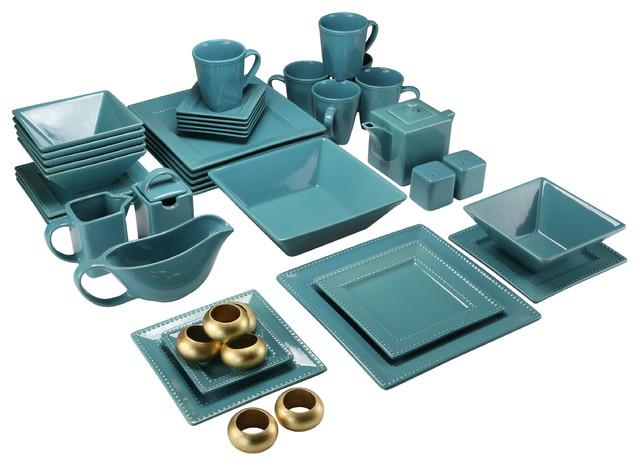 Nova Square 45-Piece Dinnerware Set Teal  sc 1 st  Houzz & Nova Square 45-Piece Dinnerware Set - Contemporary - Dinnerware Sets ...