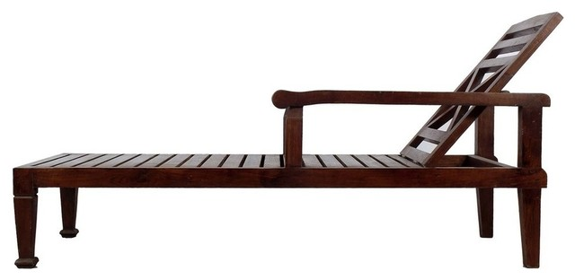 Solid Teak Wood Recliner Chaise Lounge Chair - Dark Wood Finish.