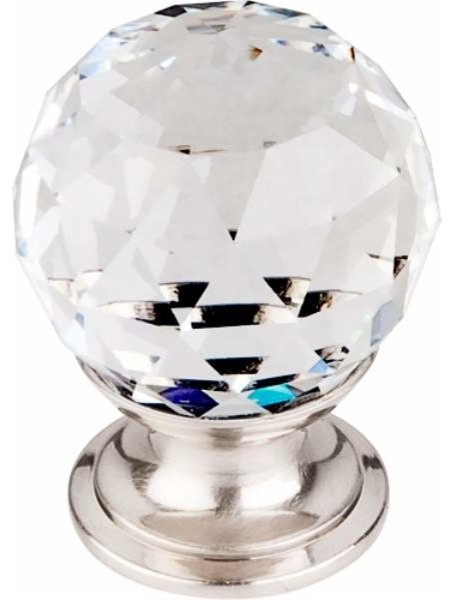 clear crystal knob with brushed satin nickel base tktk125bsn