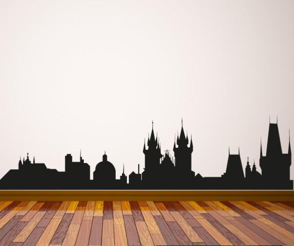 Prague Skyline Vinyl Wall Decal or Car Sticker SS050EY