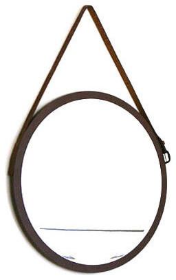 """Round Danish Mirror With Vintage Leather Belt, 16""""x16"""". -1"""