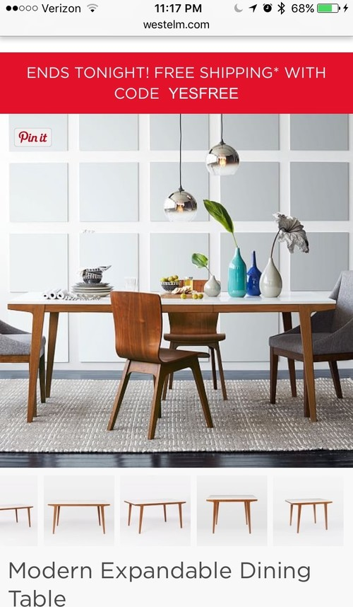 West Elm Modern Expandable Dining Table?