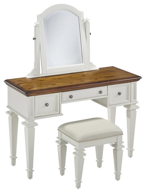 New York 2 Piece Vanity And Bench Set Antique White
