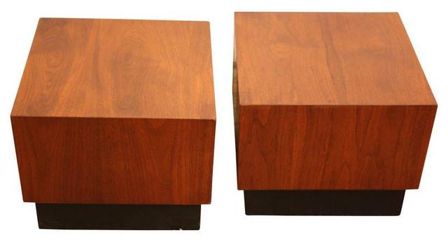 Beau Milo Baughman Cube Tables   A Pair