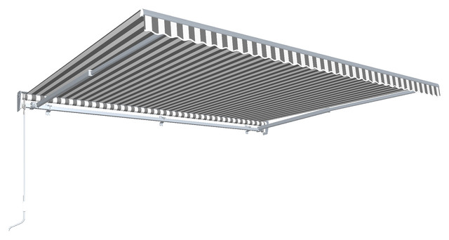 12&x27; Destin With Hood Right Motor/remote Retractable Awning, Gray/white.