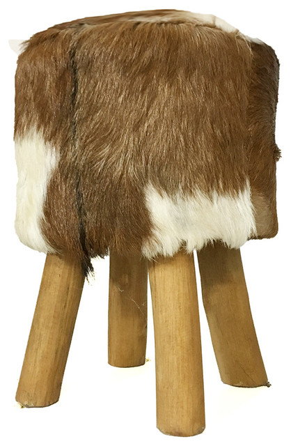Bhome Stool Made Of Solid Teak Legs With Fur Seat View