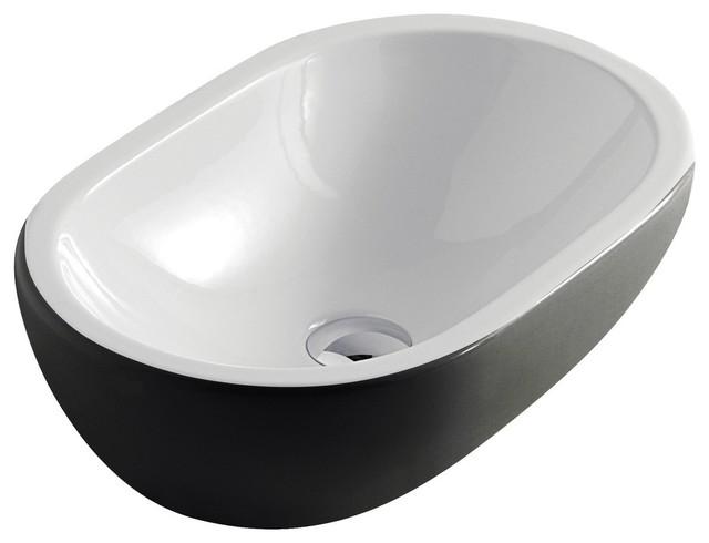 Midas Modern Ceramic Vessel Sink, White Black - Contemporary ...