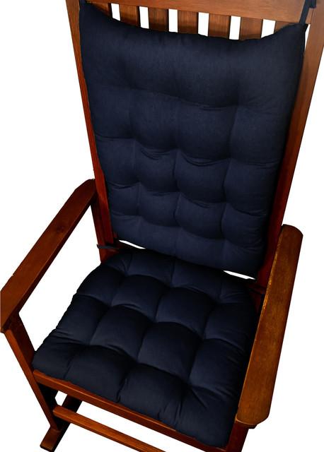 Barnett Home Decor Cotton Duck Navy Blue Rocking Chair Cushions Latex Foam F