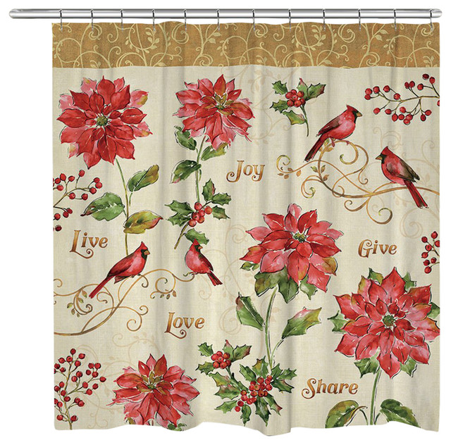 Laural Home Red Christmas Shower Curtain