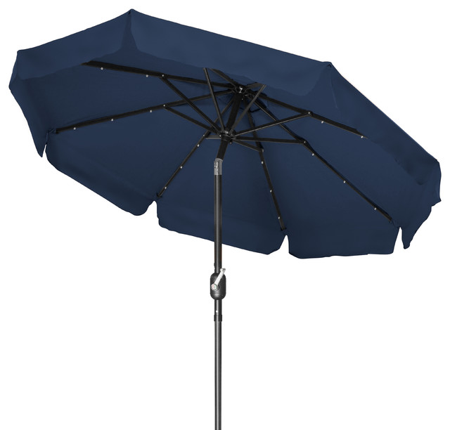 Deluxe Solar Powered LED Lighted Patio Umbrella, 8u0027 With Scalloped Edge  Top, Bl